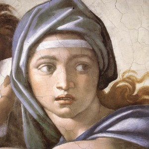 Delphic Sibyl, a Detail from the 1509 Fresco, Cappella Sistina, Vatican, Rome, Italy, by Michelangelo Buonarroti