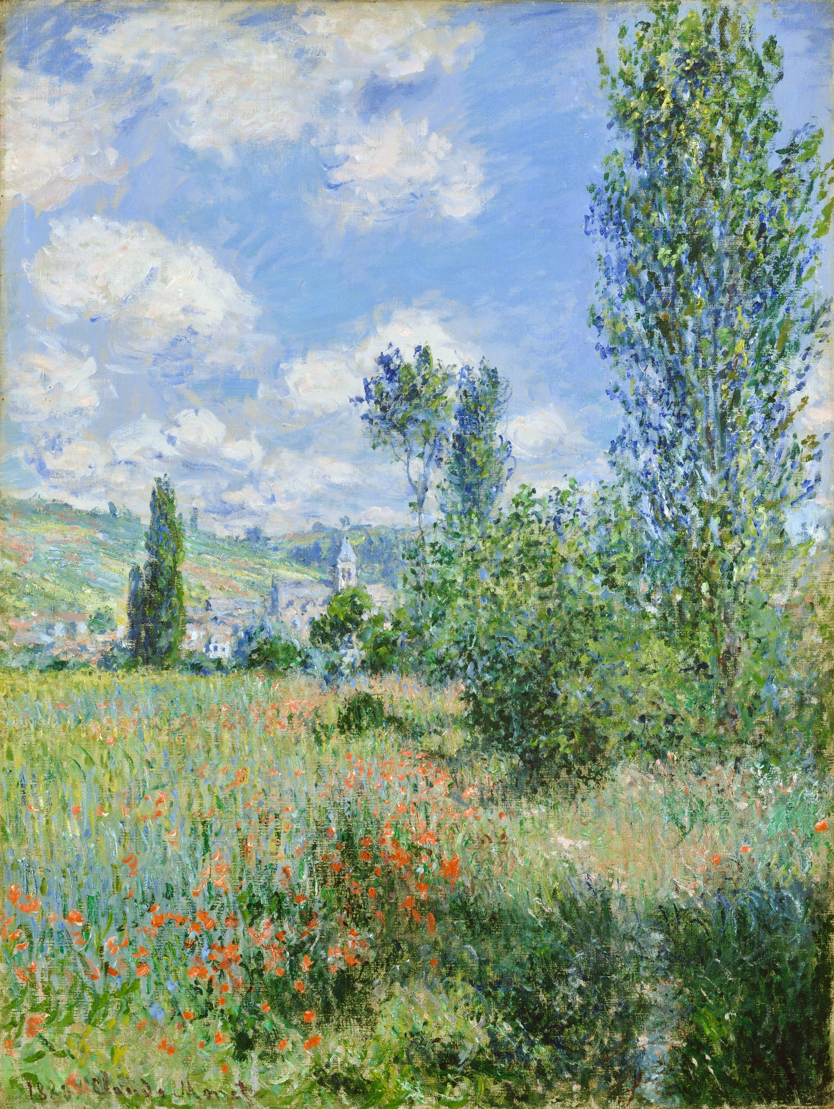 Lane in the Poppy Fields, View of Vétheuil, by Claude Monet, 1880