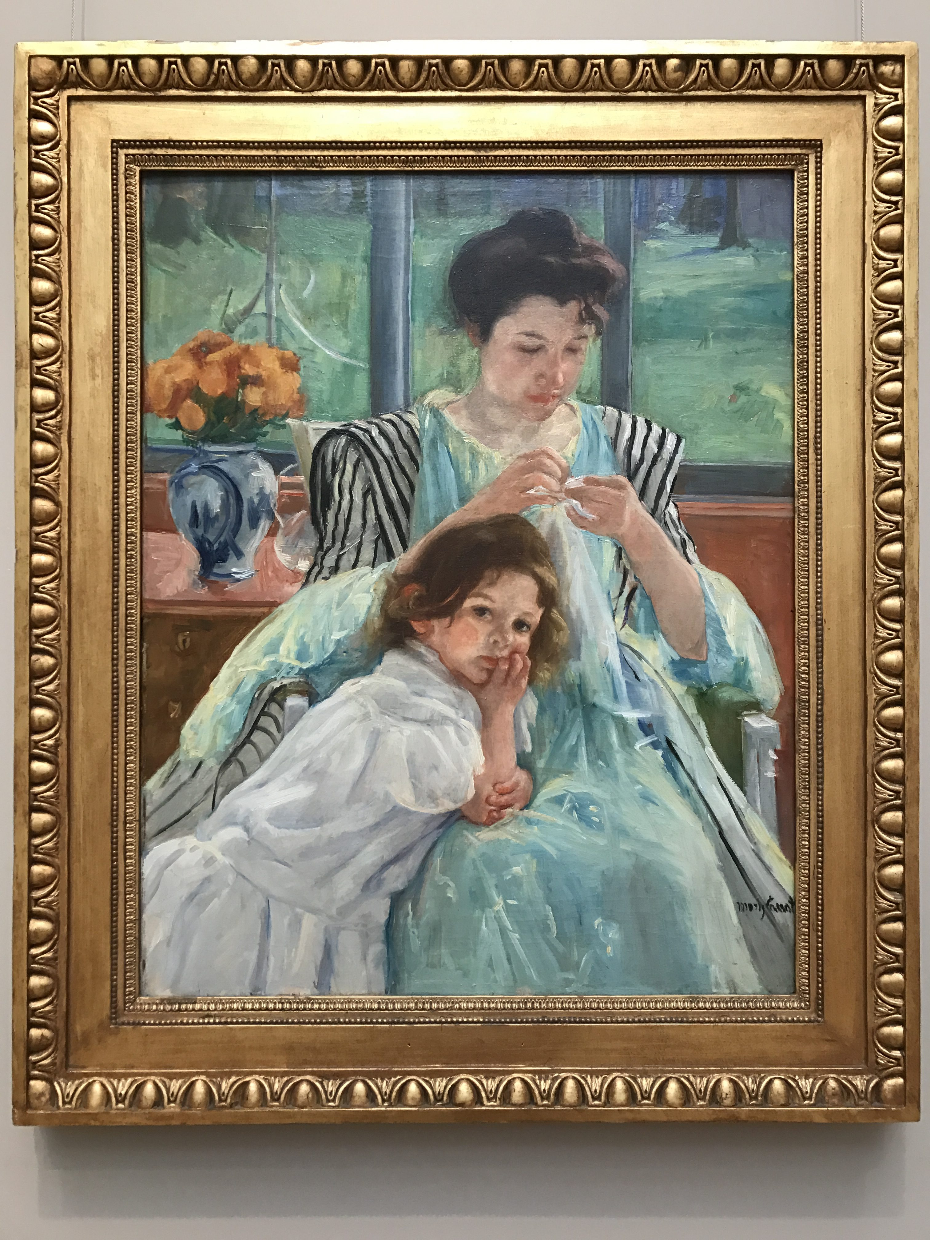 Young Mother Sewing by Mary Cassatt, 1900, my photo, framed