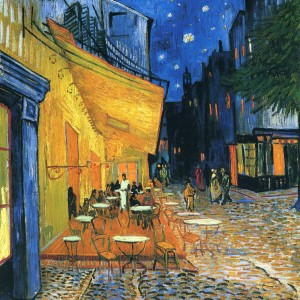 Café Terrace at Night, Place du Forum, Arles, by Vincent Van Gogh, 1888