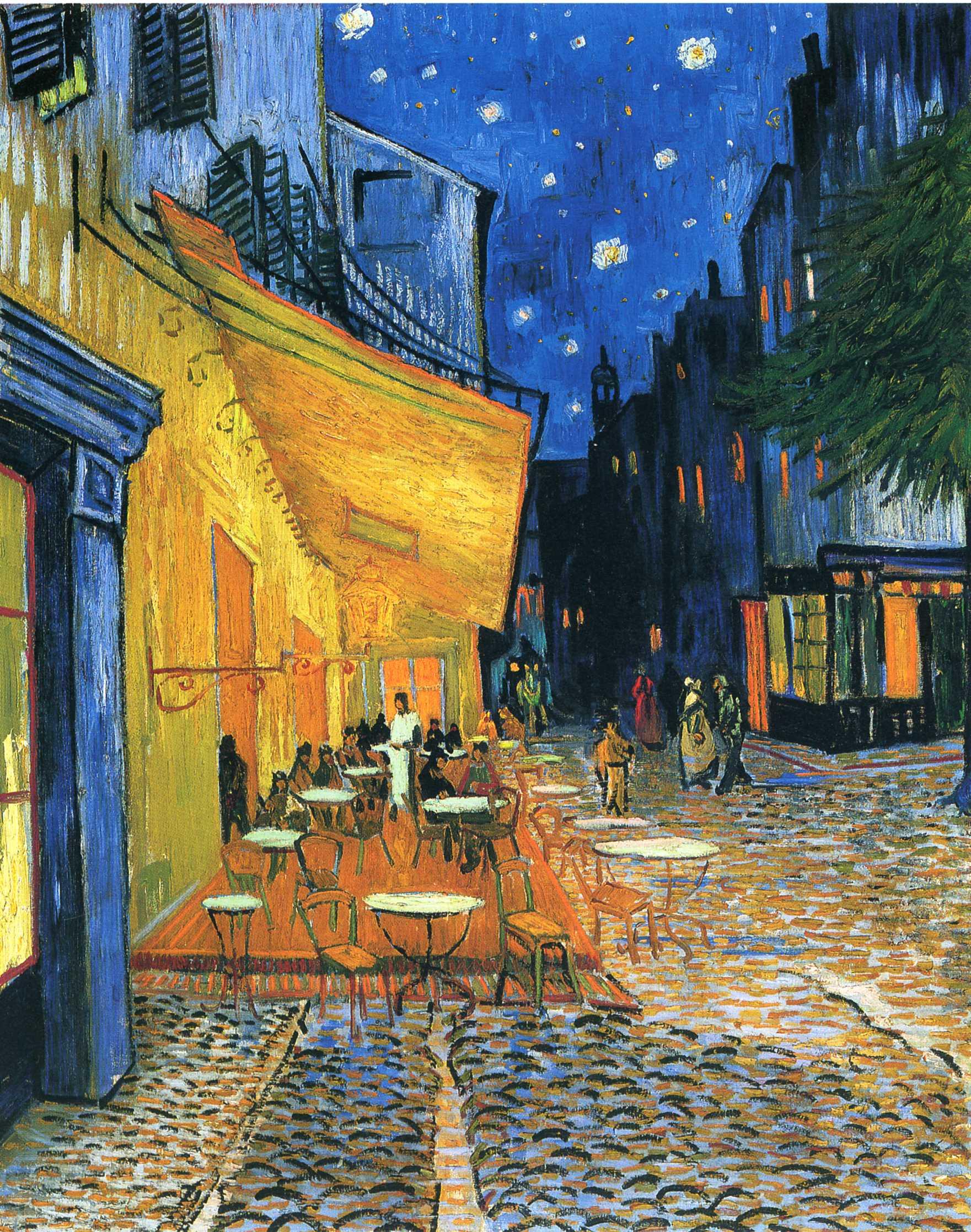 Café Terrace at Night, Place du Forum, Arles, by Vincent Van Gogh, 1888