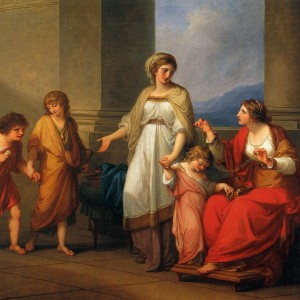 Cornelia, Mother of the Gracchi, Pointing to Her Children as Her Treasures, by Angelica Kauffman, 1785