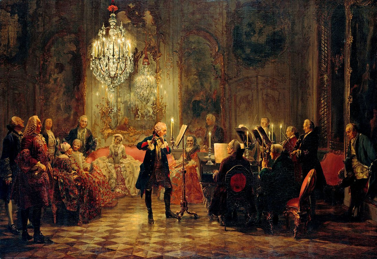 Flute Concert with Frederick the Great in Sanssouci, by Adolph Menzel, 1852