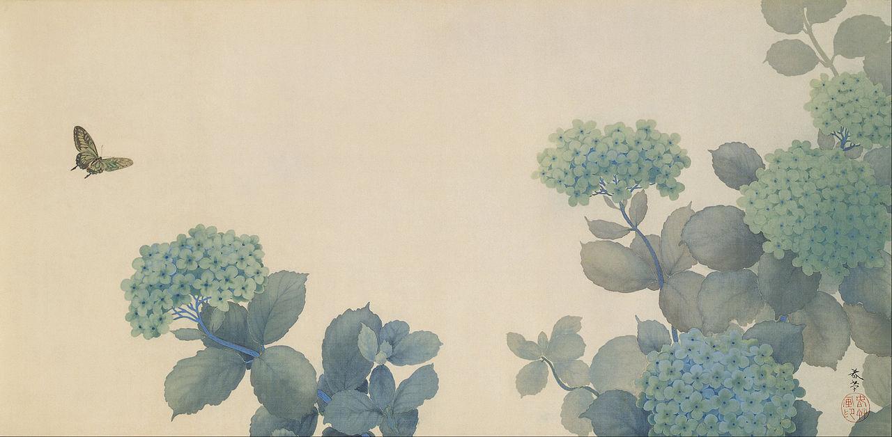 Hydrangeas by Hishida Shunso, 1902