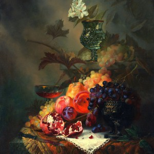 Still Life with Grapes, Peaches and Pomegranate: Extraordinary Painting by Alexei Antonov