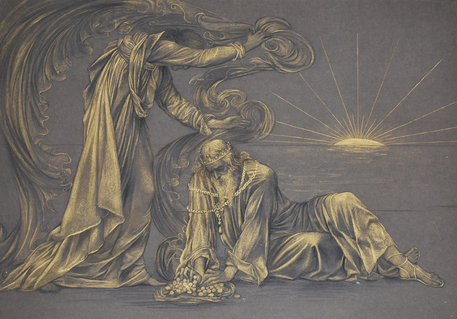 A Gold Compositional Study for Earthbound, by Evelyn Pickering de Morgan, 1897