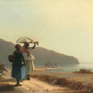 Two Women Conversing by the Sea, by Camille Pissarro, 1856