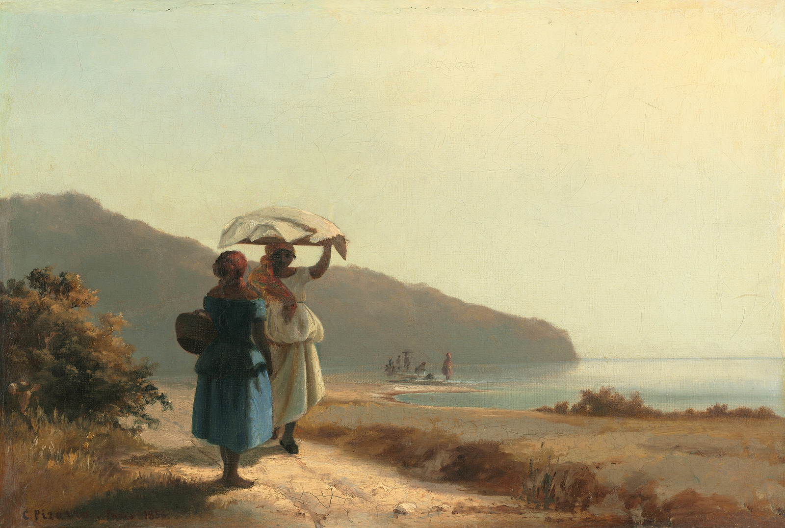 Camille Pissarro - Two Women Conversing by the Sea, 1856