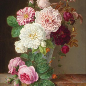 Still Life with Roses by Louise Dandelot, 1866
