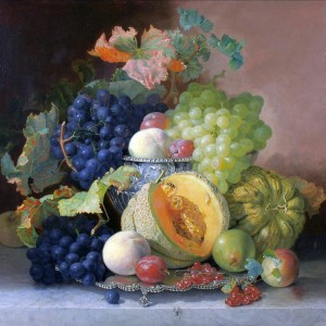 Still Life of Fruit in a Silver Bowl by Eloise Harriet Stannard, 1865