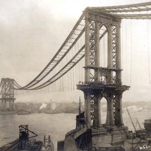 Manhattan Bridge, Under Construction: Historical Photograph by Eugene de Salignac, 1909