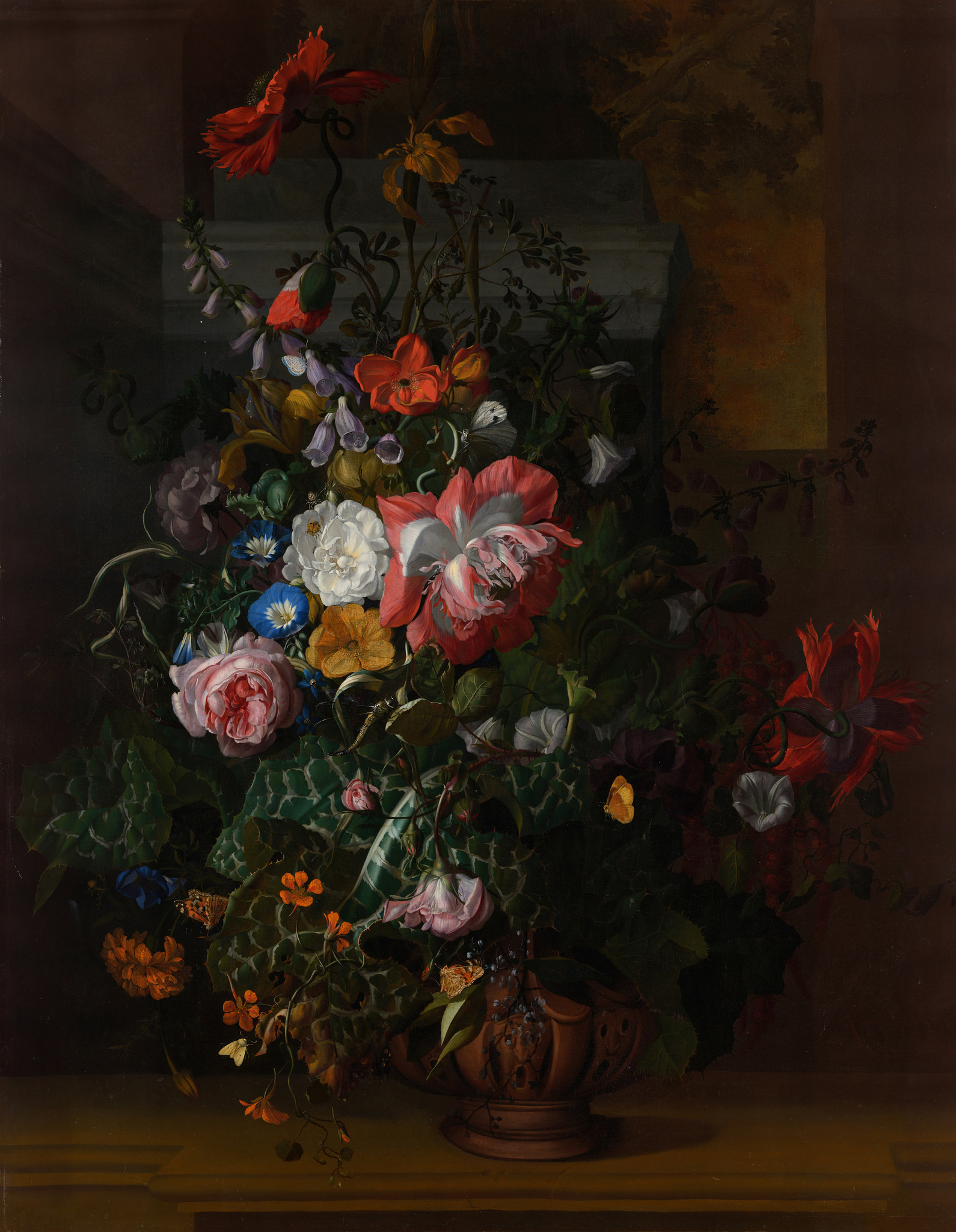Roses, Convolvulus, Poppies, and other Flowers in an Urn on a Stone Ledge, by Rachel Ruysch, 1680s