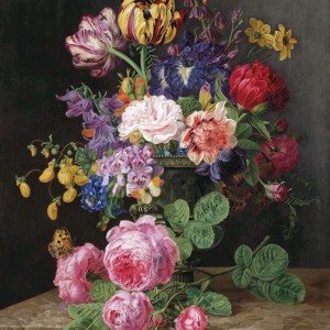 Floral Still Life of Roses, Tulips, Black Irises, and Butterflies, by Henriëtte Geertruida Knip, 1830