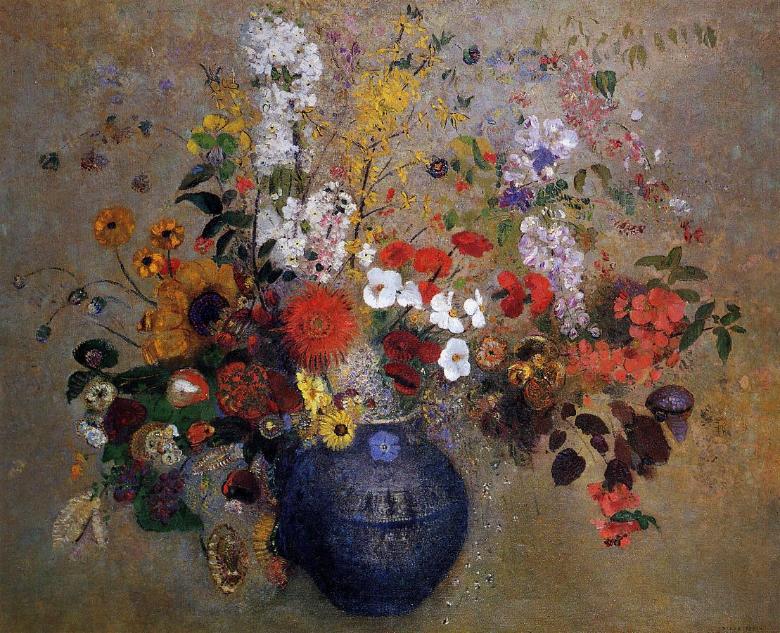Flowers in a Beaded Blue Vase by Odilon Redon, 1909, darker version