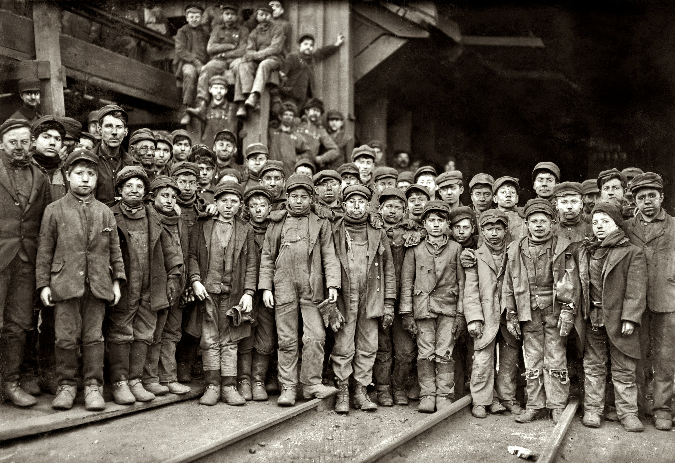 Young Mining Crew, Pennsylvania Coal Company, Photography by Lewis Wickes Hine, 1910 2300x1578