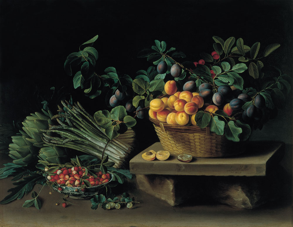 Still Life of Peaches, Plums, Cherries, Gooseberries, Asparagus, and Artichokes, by Louise Moillon, 1637