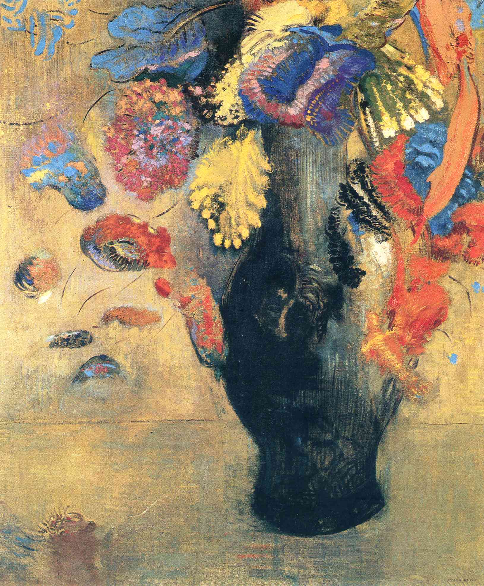 Blue, Orange and Yellow Flowers in a Vase, by Odilon Redon, 1903