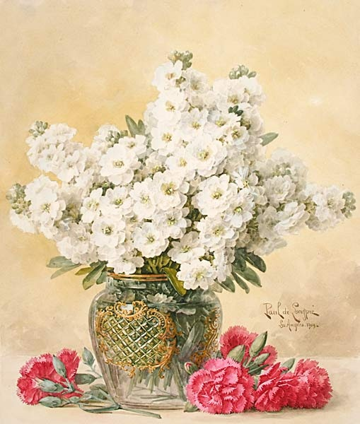 "PAUL DE LONGPRE (French:American, 1855-1911) ""White Tuberoses in a Glass Vase and Red Carnations,"" Watercolor on paper, 1909, from Michaan's Auctions"