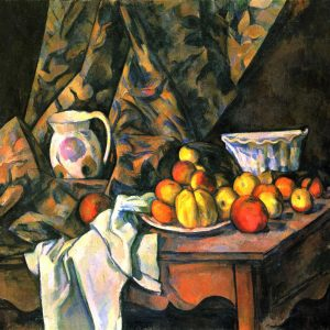 Still Life with Apples and Peaches and a Pitcher on a Wooden Table, by Paul Cézanne, 1905
