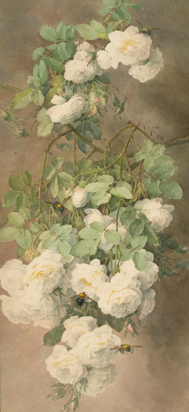 Paul de Longpre - White Roses and Bumblebees' c. 1900