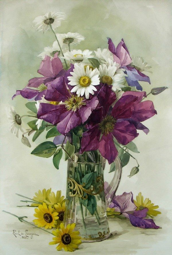 Paul de Longpre - daisies, clematis, in a glass pitcher