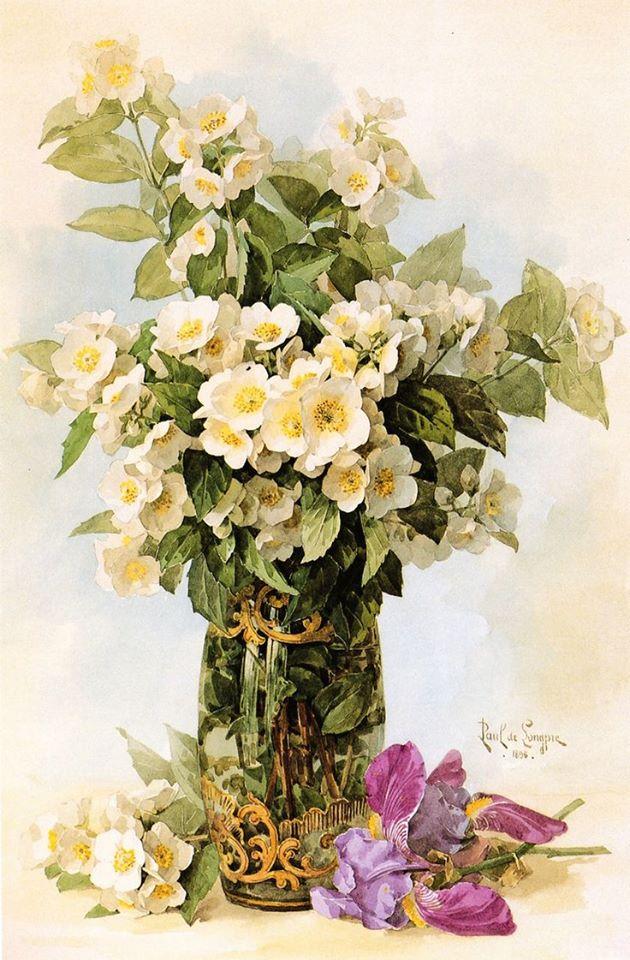 Paul de Longpre - white flowers in a glass pitcher and purple iris