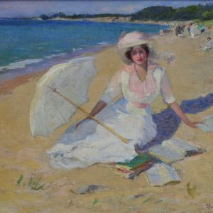 Woman with a Parasol on the Beach, by Pauline Palmer, circa 1914