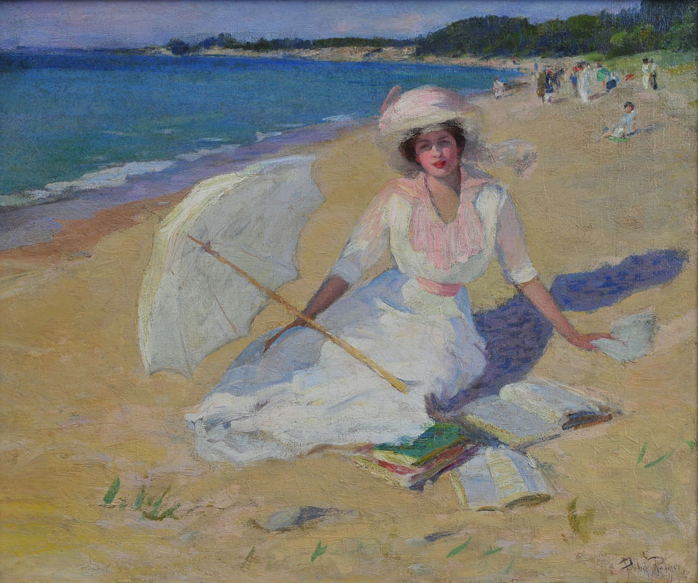 Pauline Palmer - Woman With Parasol (also, Beach Scene), c. 1914