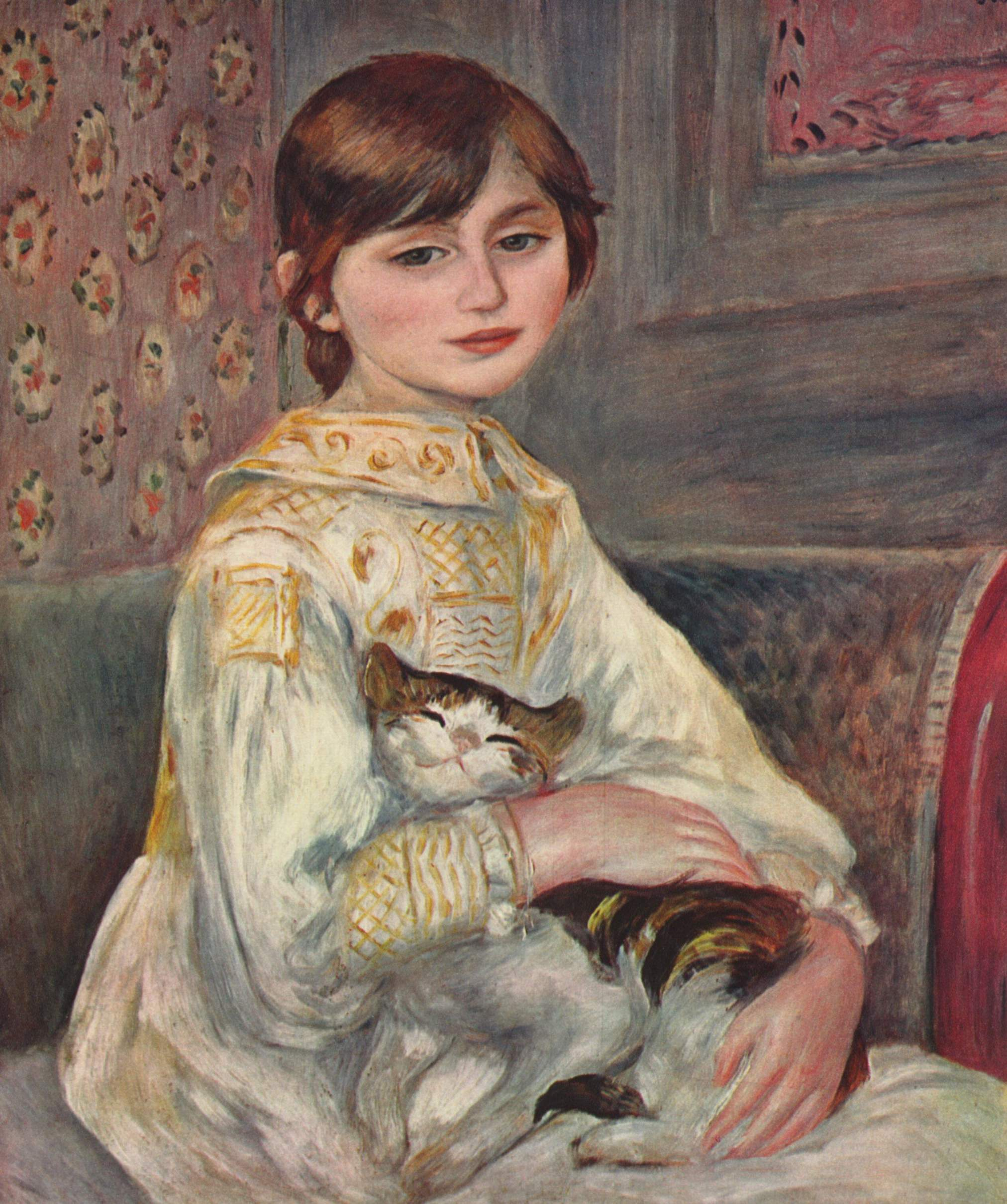 Mademoiselle Julie Manet with a Cat, by Pierre-Auguste Renoir, 1887