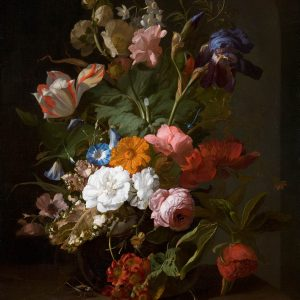 Glass Vase with Roses, a Striped Tulip, Purple Iris, and other Flowers, by Rachel Ruysch, 1700