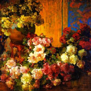 Roses and Lilies, by Franz Bischoff