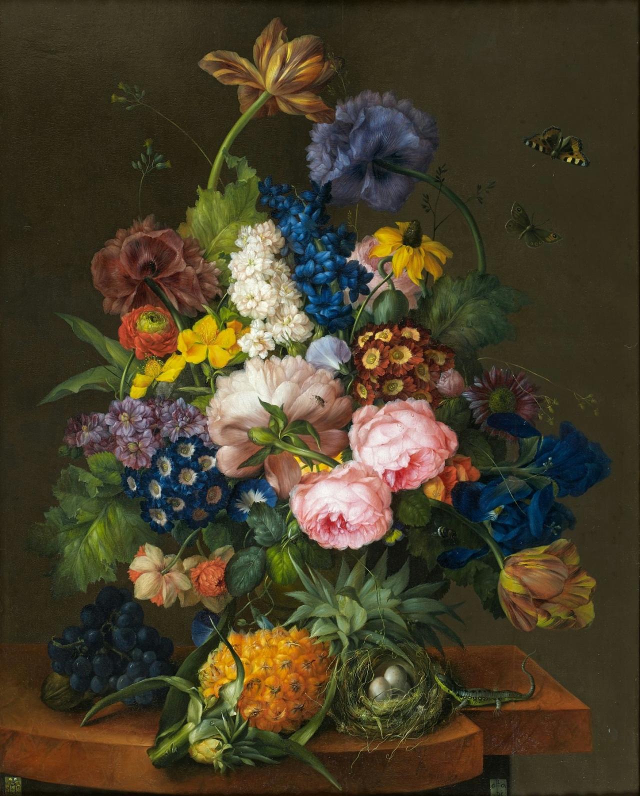 Still Life of Flowers, Fruit, Butterflies, a Bird's Nest, and a Lizard, by Franz Xaver Petter