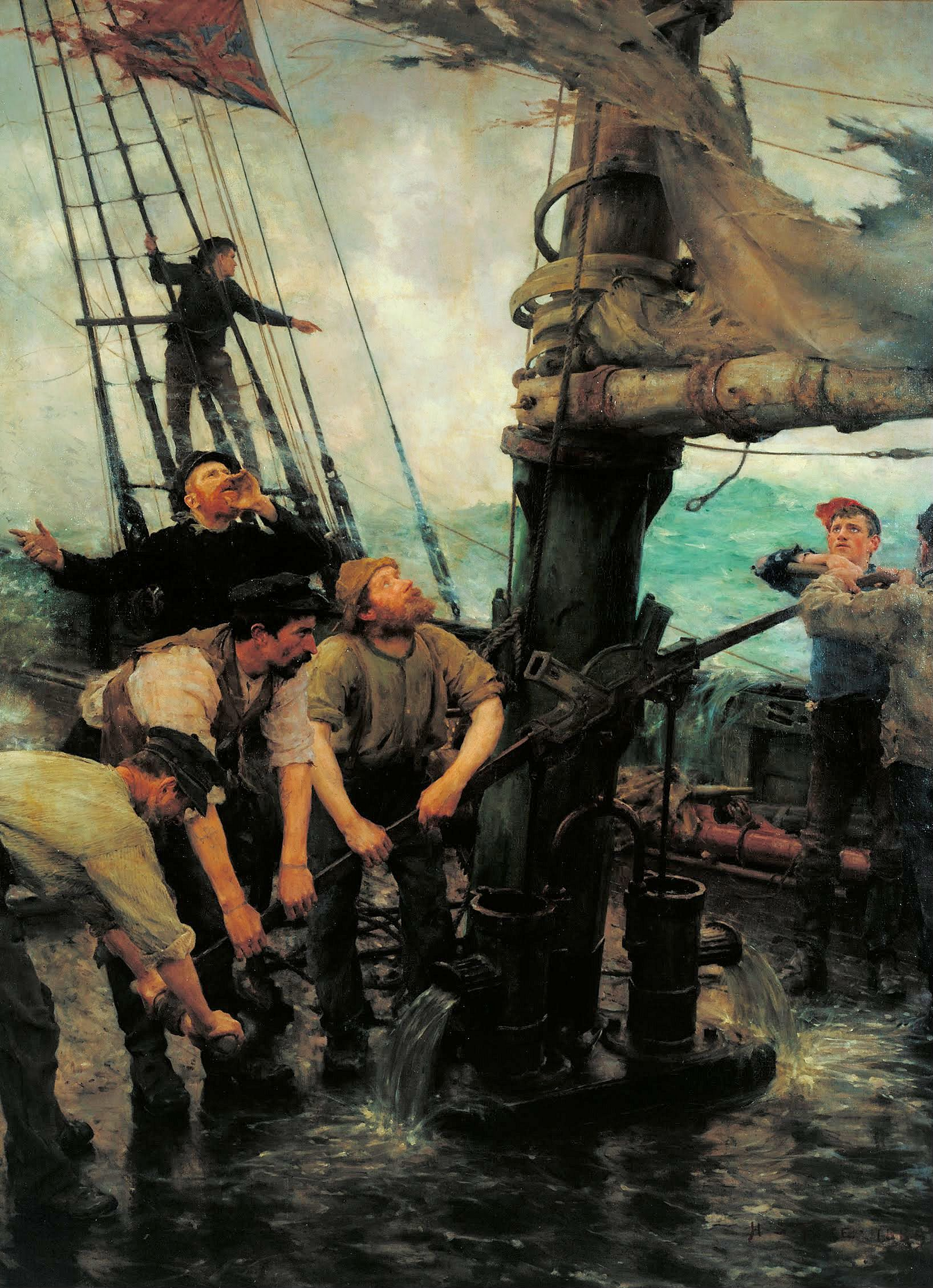 All Hands to the Pumps, by Henry Scott Tuke, c. 1888