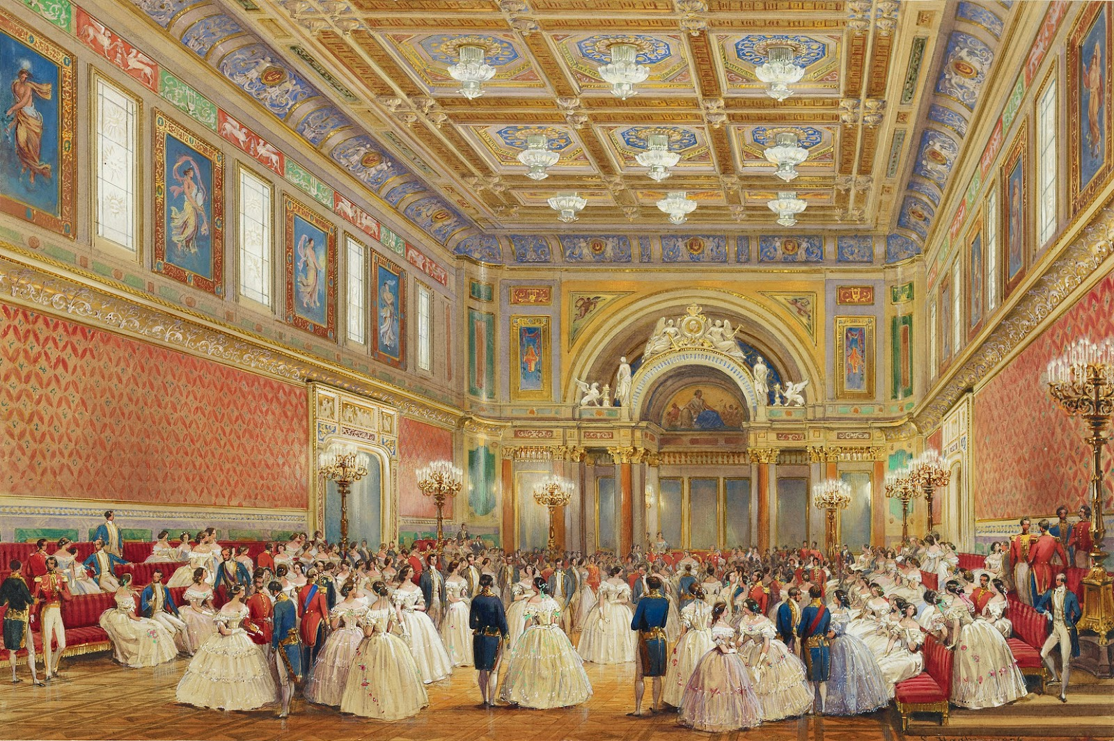 The Ballroom, Buckingham Palace, 17 June 1856, by Louis Haghe