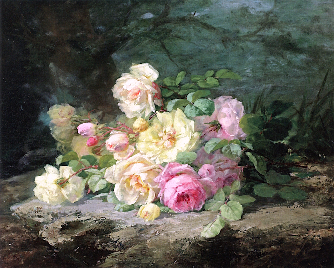 White and Pink Roses on a Forest Floor, by Margaretha Roosenboom