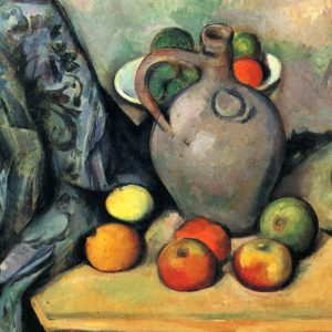 Still Life with a Jug and Fruit on a Table, by Paul Cézanne, 1893-94