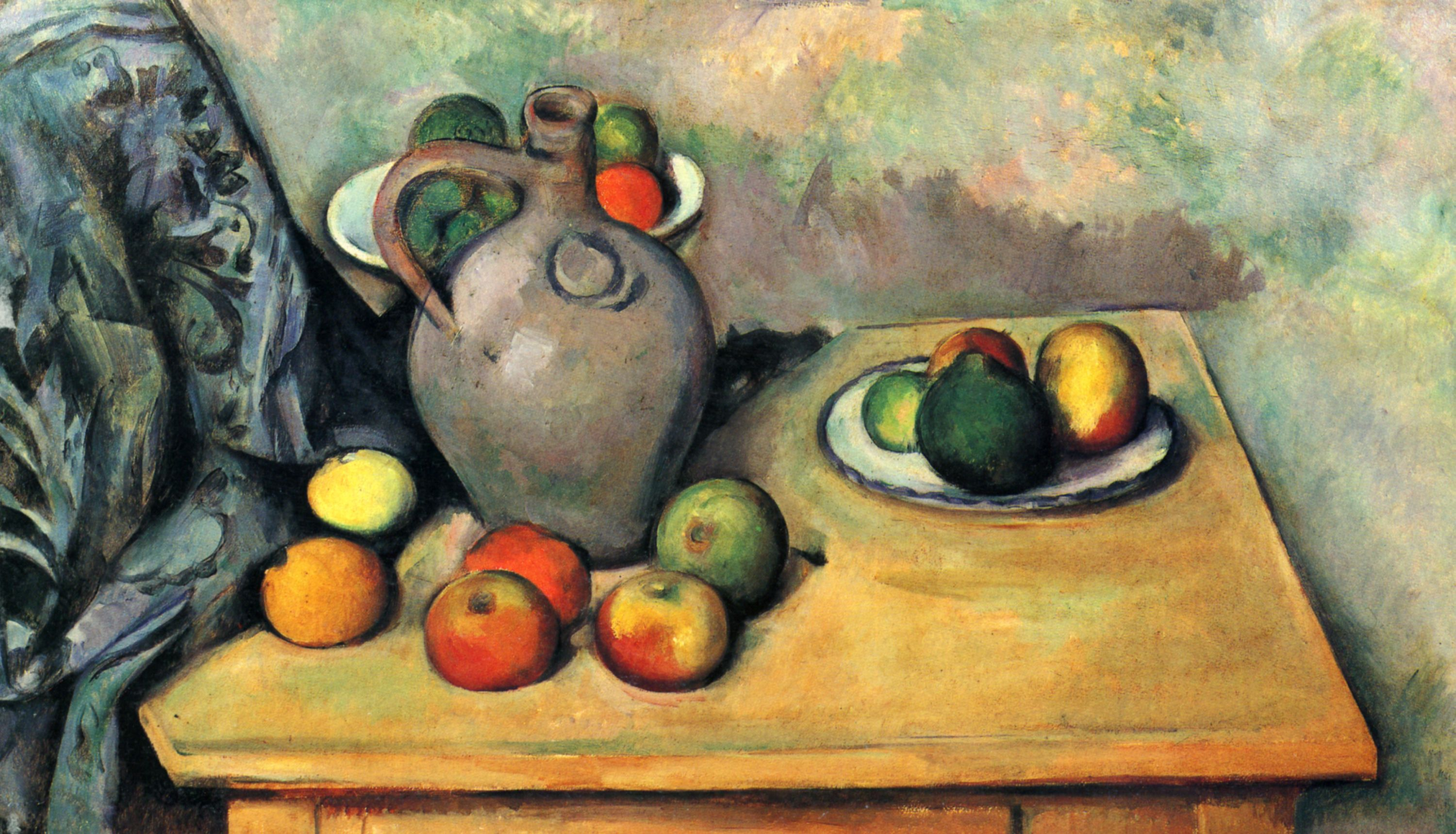 Paul Cezanne - Still Life with Jug and Fruit on a Table, 1893-94 - 3000x1718px