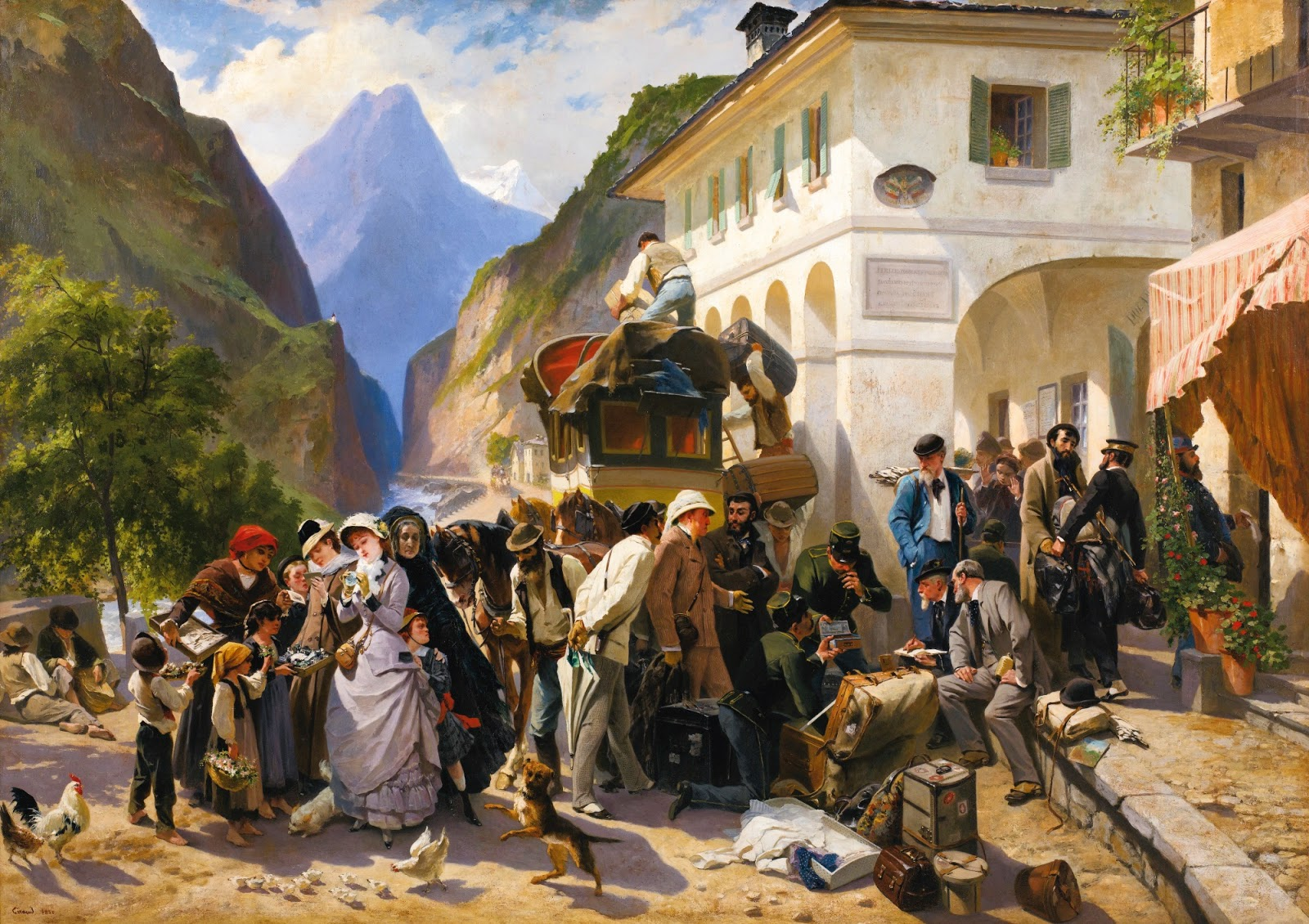 La Douane Italienne au Simplon, by Pierre Francois Eugène Giraud, 1880