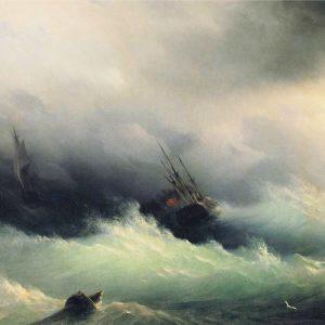 Ships in a Storm, by Ivan Konstantinovich Aivazovsky, 1860
