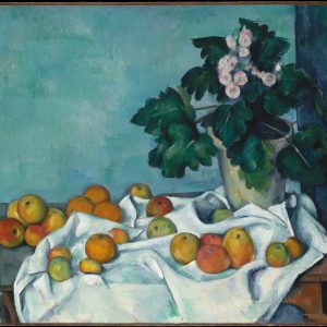 Still Life with Apples and a Pot of Primroses, by Paul Cézanne, circa 1890