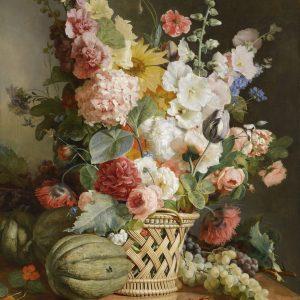 Fruits et Fleurs dans une Corbeille d'Osier, by Antoine Berjon, 1810