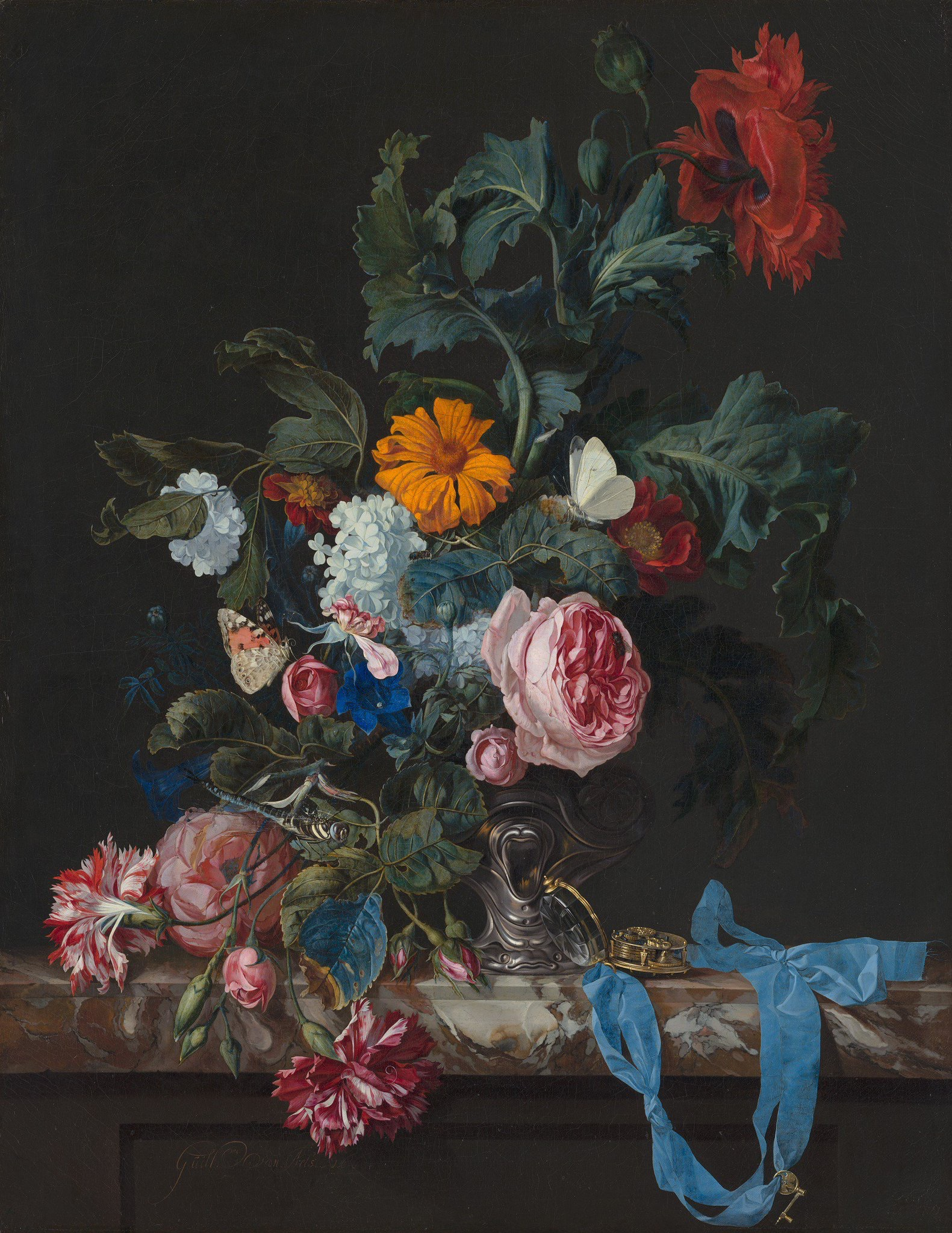 Flower Still Life with a Timepiece, by Willem van Aelst, 1663