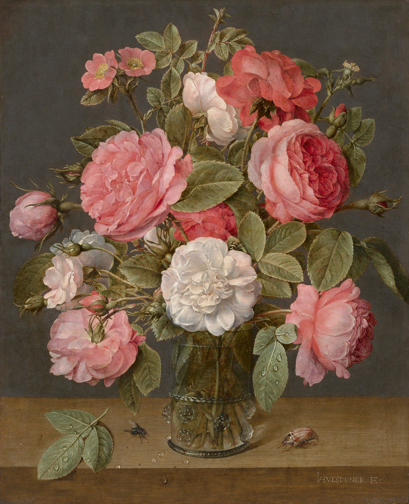 Roses in a Glass Vase, by Jacob van Hulsdonck, circa 1640-45