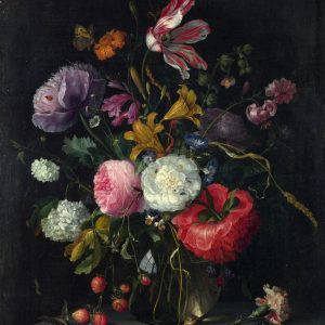 Flowers in a Glass Vase, by Jacob van Walscappelle, circa 1670