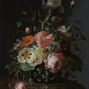 Still Life with Flowers on a Marble Tabletop, by Rachel Ruysch, 1716