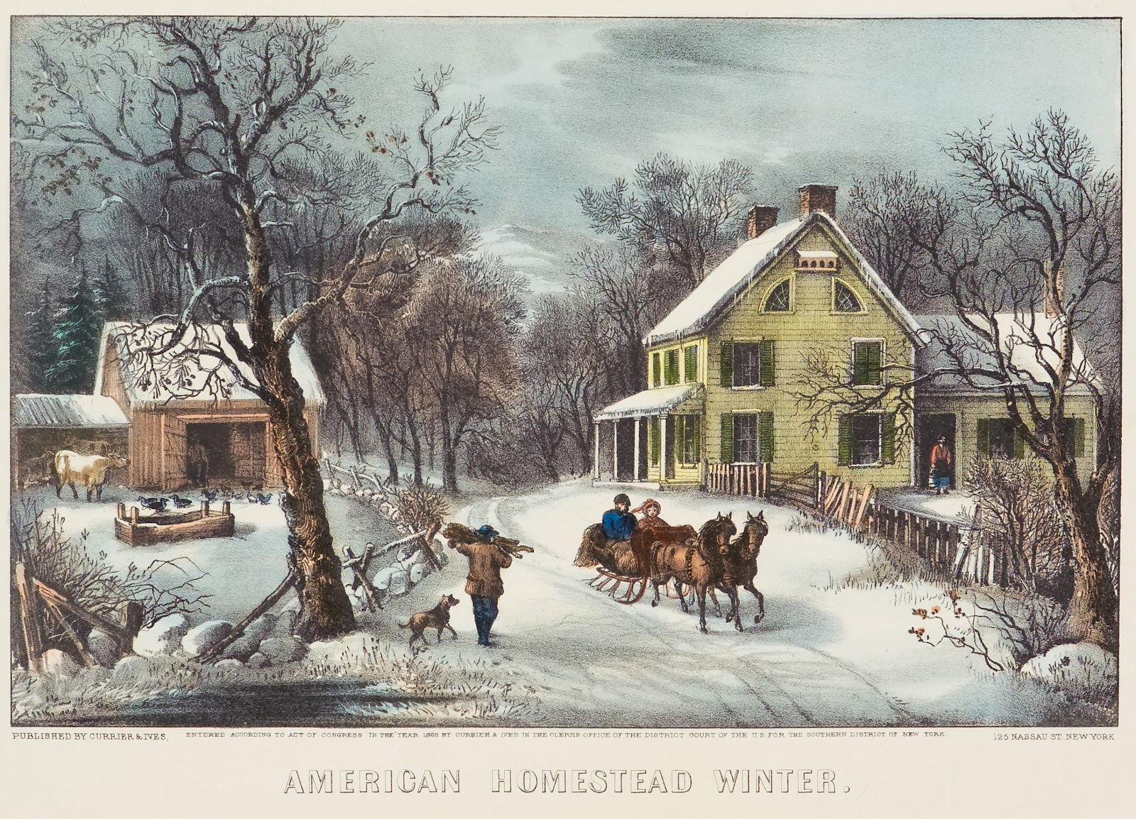 American Homestead, Winter, by Currier & Ives, 1868