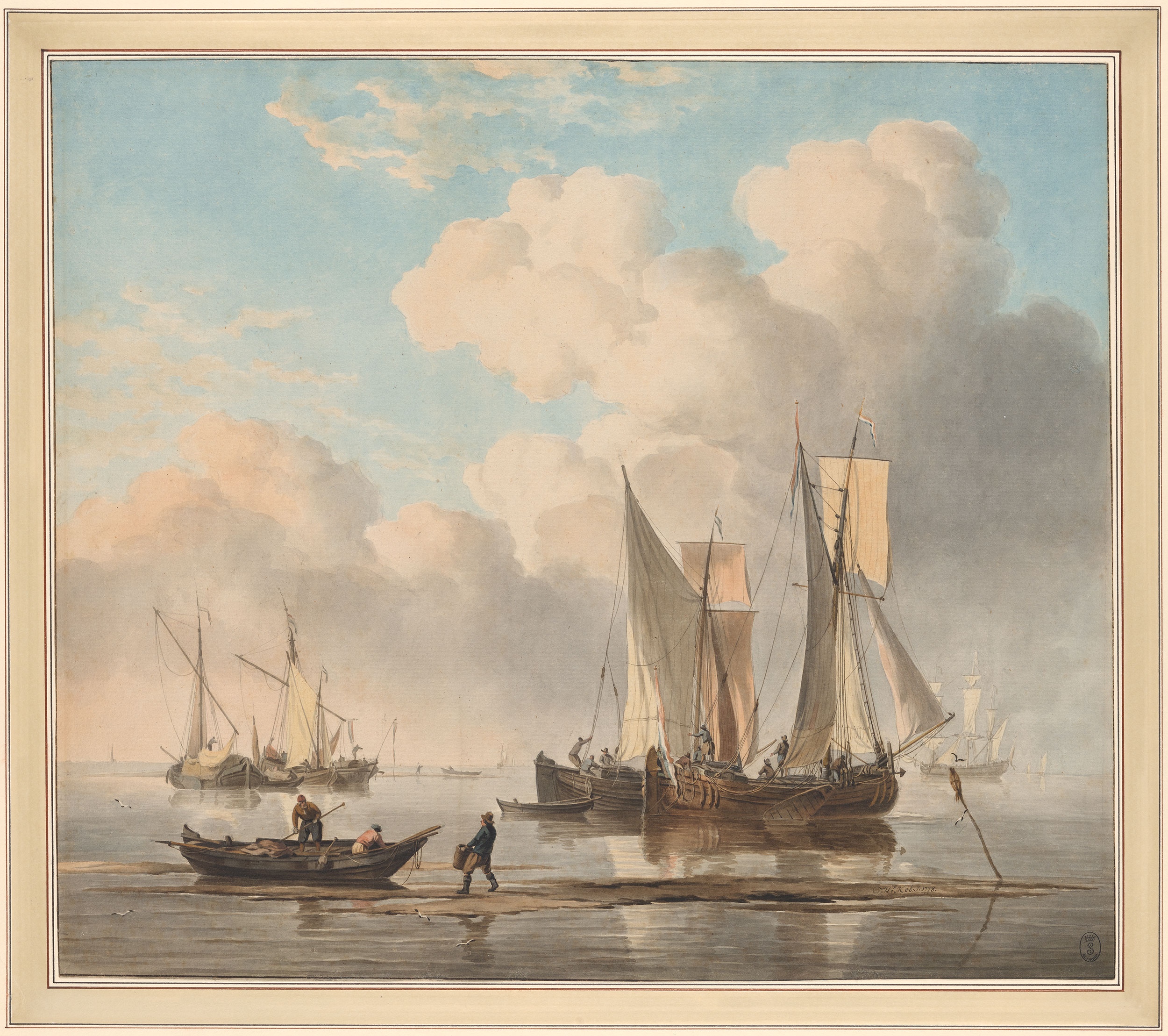 Shipping Scene near the Shore, by Hendrik Kobell, 1778