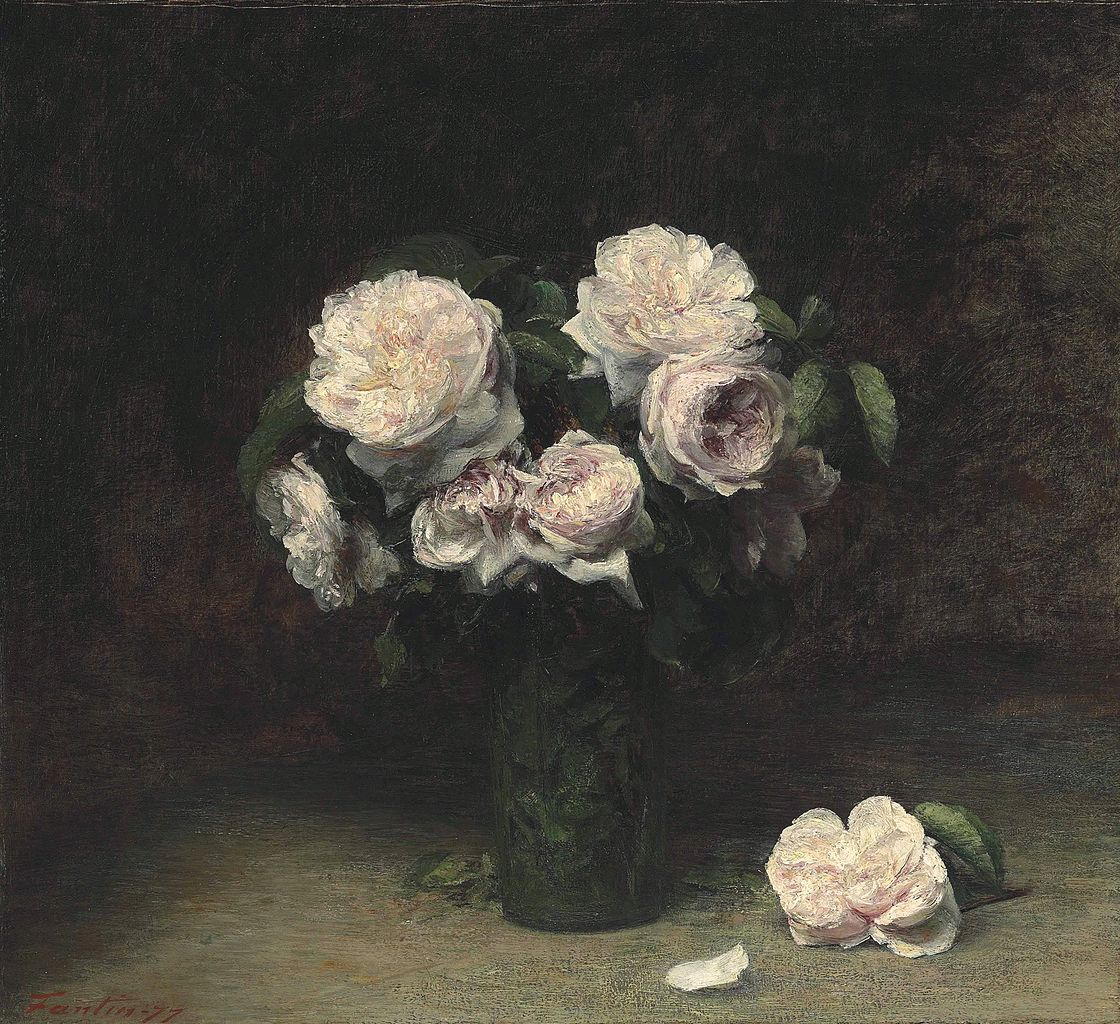 Roses in a Glass, by Henri Fantin-Latour, 1877