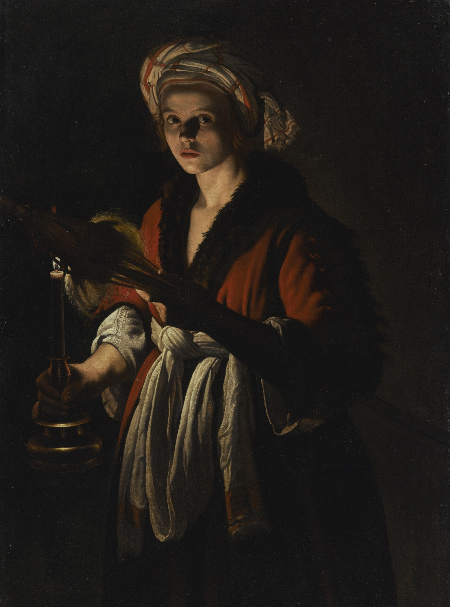 A Young Woman Holding a Distaff before a Lit Candle, by Adam de Coster