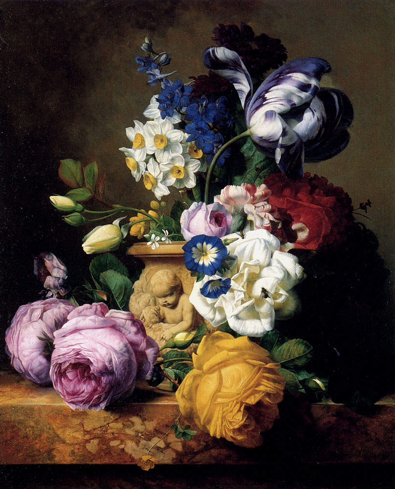 Roses, Tulips, Morning Glory, Delphinium and Primrose, by Charles Joseph Node, 1852